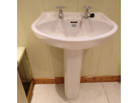 Wash Basin and Toilet. 'Nostalgia Spring' bathroom suite. Excellent condition