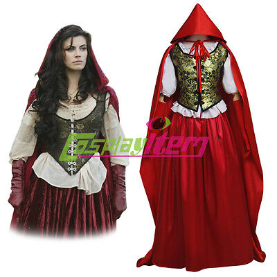 Once Upon a Time Ruby's Little Red Riding Hood Cloak Costume Cosplay