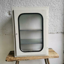 Metal and glass vintage medical FIRST AID cabinet. 1960s Eastern Europe