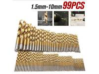Brand New with FREE Delivery - 99Pc Titanium Coated HSS Drill Bit Set 1.5mm - 10mm