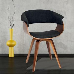 NEW ARMEN LIVING Summer Modern Chair In Charcoal Fabric and Walnut Wood