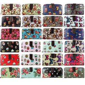 Ladies-Designer-Butterfly-Owl-Cupcake-Flowers-Oilcloth-Bifold-Wallet-Purse-Bag