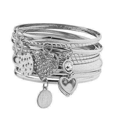 Lux Accessories Silver Tone Charm Heart Disc Crystal Rhinestone Bangle Set