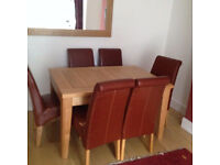 Good Condition Extendable Dining Table + 6 Montana Leather Chairs, DELIVERY AVAILABLE