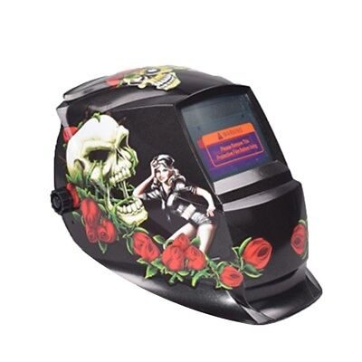 Hobart Welding Helmet With Striking Red Rose Skull Design Graphic Lcd Technolo