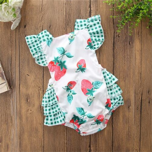 NWT Strawberry Baby Girls Sleeveless Ruffle Romper Jumpsuit Headband Outfit Set