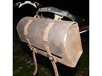 New XL Vintage Genuine Leather Saddle Bag ANTIQUE BROWN for bikes BROMPTON / DAHON / TERN