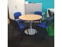 800mm Beech Circular Meeting Table and Chairs