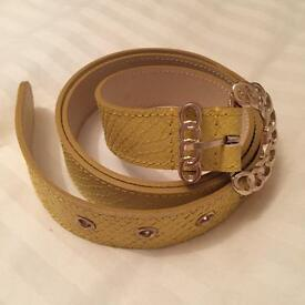 Ladies Yellow Leather belt by Reiss (M)