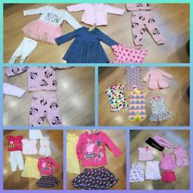 Large bundle of girls clothes 9-12 months