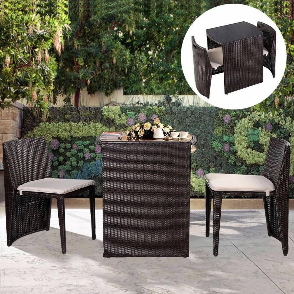free uk delivery 3 piece high table rattan - Garden Furniture Yate