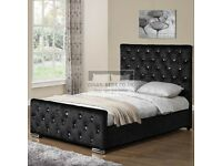 🎆💖🎆65% DISCOUNT🎆💖🎆 CHESTERFIELD BED CRUSHED VELVET DOUBLE BED WITH MATTRESS OPTIONS