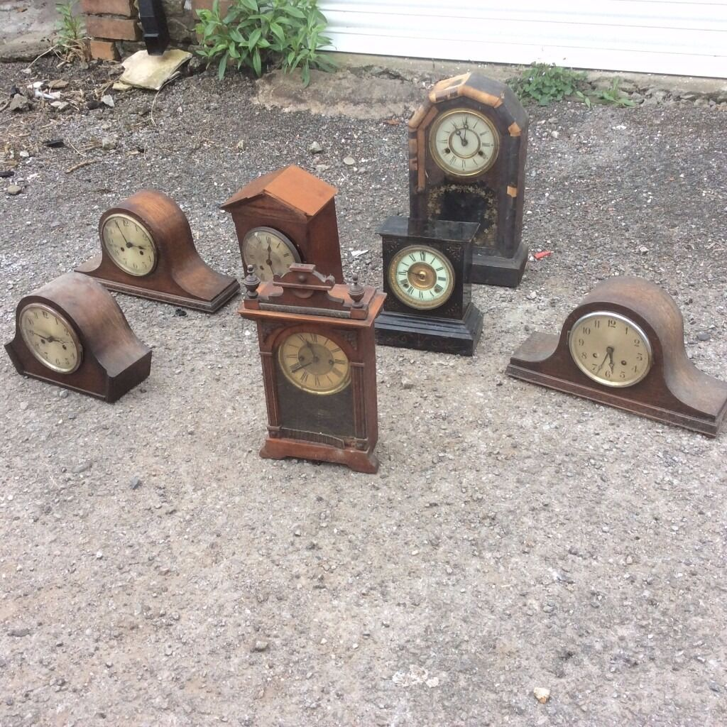7 x Various Styles of Old Clocks