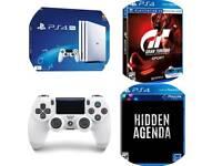 PS4 Pro White 1TB + GT Sport + Hidden Agenda + Extra Dualshock Controller