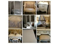 Bedroom furniture French style in white, excellent condition. Wardrobe, Cabinets, Table, Chair