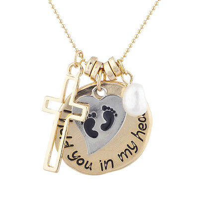 Lux Accessories Goldtone Religious I hold you in My Heart Pendant Charm Necklace