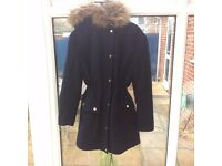 Ladies winter coat with detachable hood navy blue River Island size 10 parka style