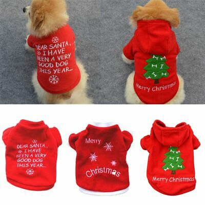 Cute Dog Puppy Christmas Santa Warm Costumes Coat Clothes Pet Apparel Shirt Mini