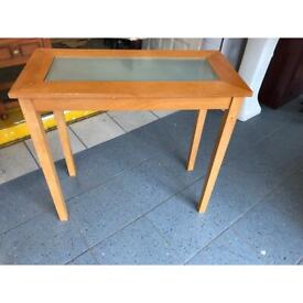 Small wood and glass console table