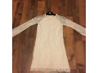 Girls cream lace River island party dress age 10