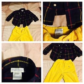 Used Baby Boys Ralph Lauren yellow and blu set 9 months old
