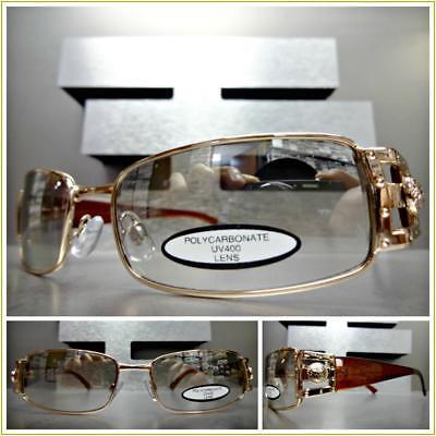 Men's CLASSY ELEGANT MODERN Clear Lens Slight Tint SUN GLASSES Rose Gold Frame