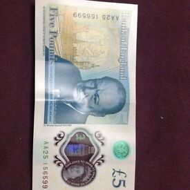 £5 Five Pound Note AA25 - Genuine Bank of England Polymer Note in Low Serial Number