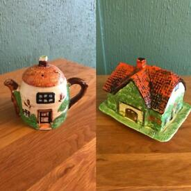 Vintage Butter Dish and Teapot Farmhouse Style