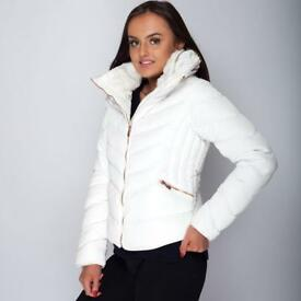 ZARA WHITE QUILTED COAT