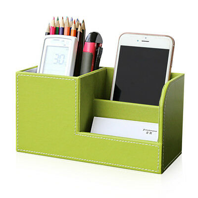 Leather Sorter Mail Document Tray Desk Office File Organizer Holder -green