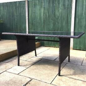 Rattan Glass Topped Table