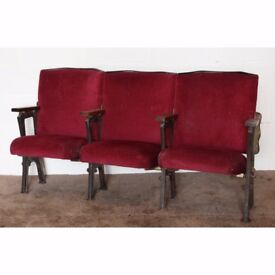 A Row of 3 Vintage C1930s Art Deco Cinema Theatre Seats, Red Velvet REF116 UK Delivery Available