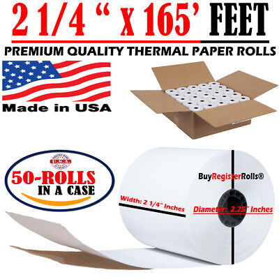 2 14 165 Ft 50 Rolls Thermal Paper Rolls Same Day Free Shipping