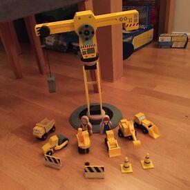 Wooden Crane and vehicle set