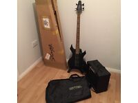 stagg bass guitar, amplifier, stand and carry case
