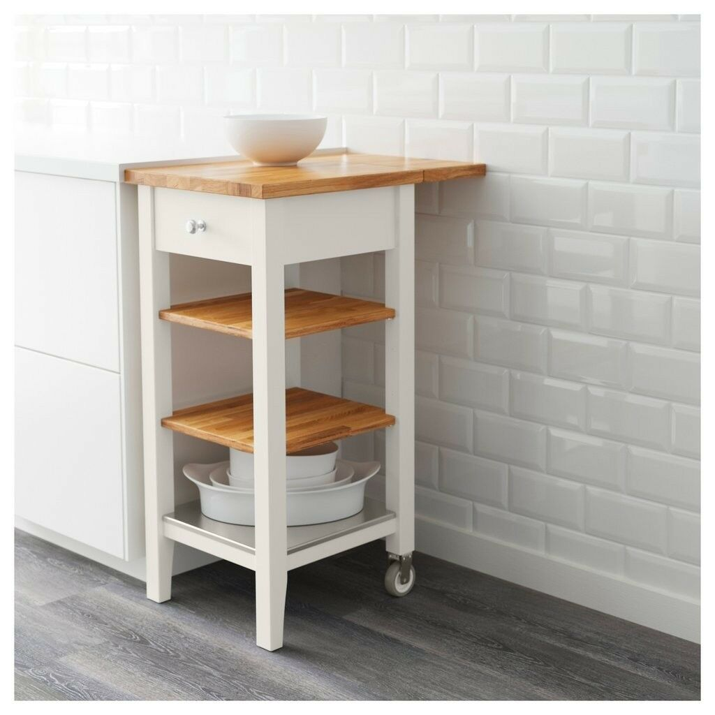 Ikea Stenstorp Small Kitchen Island Trolley Butcher Block In White And Oak