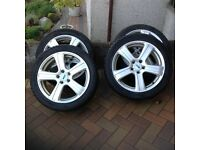 "Alloy wheels with winter tyres. 17"" ,PCD 5x108. 225/45R17 Avon ice touring tyres"
