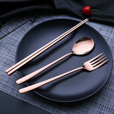 Stainless Steel Reusable Utensils with Fork Spoon Chopsticks Dishwasher Safe Dishwasher Safe Stainless Steel Spoon
