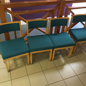 Reception Chairs 50. Wooden upholstered chairs. Green colour. Sturdy but with wear and tear.