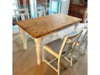 Refurnished dining set with 4 chairs