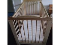 Natural Wooden cot Newborn With Mattress size 120x60- Excellent condition