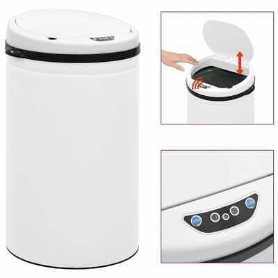 vidaXL Automatic Sensor Dustbin 40L Carbon Steel White Kitchen Waste Dust Bin