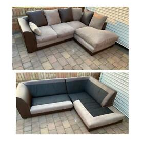 Brown and beige corner sofa