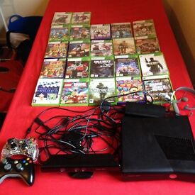 X box 360 with Kinect, 22 games, 2 remotes, headset and all cables & adapters