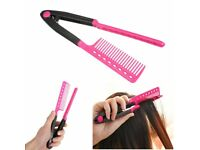 Comb V Type Hair Combs Styling Tool Straightener DIY Salon Hairdressing #Pink