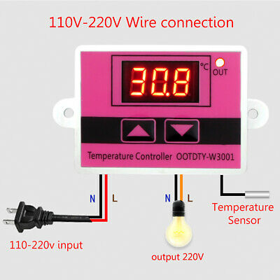 W3001 Ac 110v-220v Temperature Controller Thermostat Switch Digital Led Display