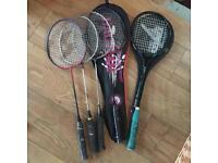 Badminton and tennis rackets