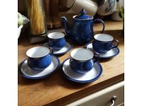 DENBY IMPERIAL BLUE 4X CUPS & SAUCERS & TEAPOT