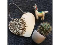 Heart Shape Board with mandala ( pyrography)