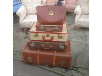 Superb Stack of Charming Rustic Vintage Suitcases
